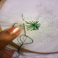 Outlined diamond eyelet stitch
